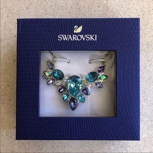 Swarovski multi-color crystal cluster necklace